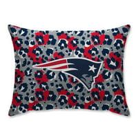 New England Patriots Leopard Plush Bed Pillow - Blue - No Size