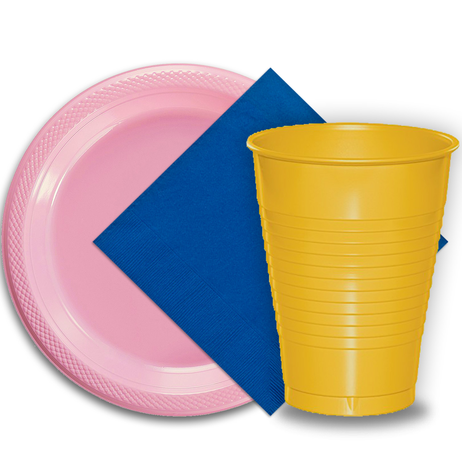 "50 Pink Plastic Plates (9""), 50 Yellow Plastic Cups (12 oz.), and 50 Dark Blue Paper Napkins, Dazzelling Colored Disposable Party Supplies Tableware Set for Fifty Guests."