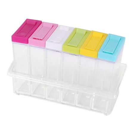 Plastic Condiment Salt Spice Storage Container Seasoning Box Set Colorful