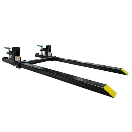 "Titan 43"" LW Clamp on Pallet Forks 1,500 lb Capacity w/ Stabilizer Bar"