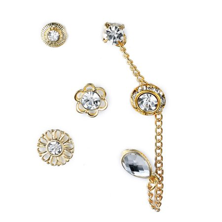 Gold Tone Flower, Rhinestone & Crystal Drop Chain Link- Assorted Stud Earrings (6 Piece) Set, By JADA Collections