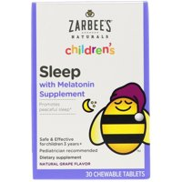 Zarbee s  Children s  Sleep with Melatonin Supplement  Natural Grape  30 Chewable Tablets