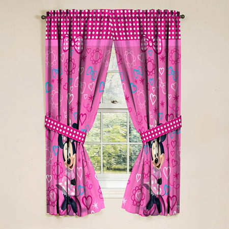Minnie Mouse Girls Bedroom Curtains, Set of 2