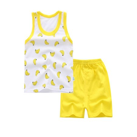 BOBORA 2Pcs Summer Lovely Baby Boy Girls Unisex Cotton Cartoon Animal Printed T shirt + Short Pants Clothing Sets