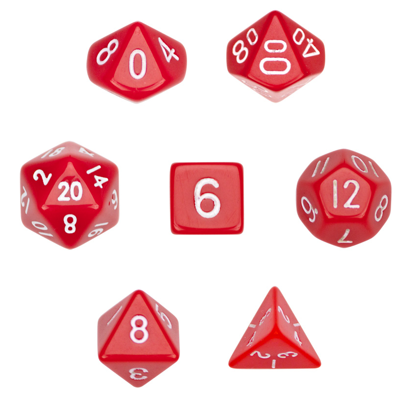 Wiz Dice 7 Die Polyhedral Dice Set in Velvet Pouch - Opaque Red