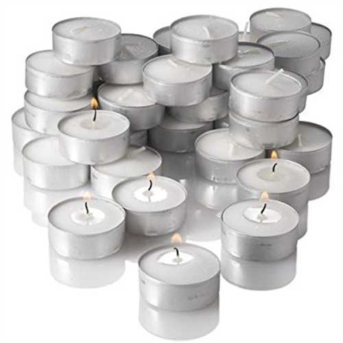 - Richland Unscented Tealight Candles, White, Set of 125