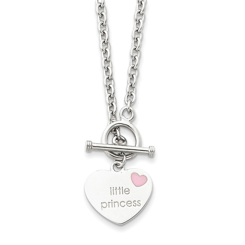 Sterling Silver 15in Enameled Little Princess Heart Necklace
