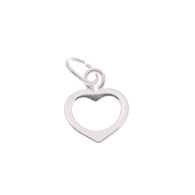 Sterling Silver Charm Small Sleek Open Heart 7mm - 1 Charm