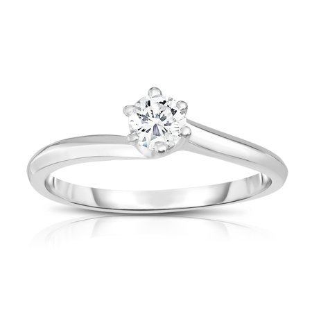 14K White Gold Diamond (0.25 Ct, SI2 Clarity, G-H Color) 6-Prong Solitaire Ring