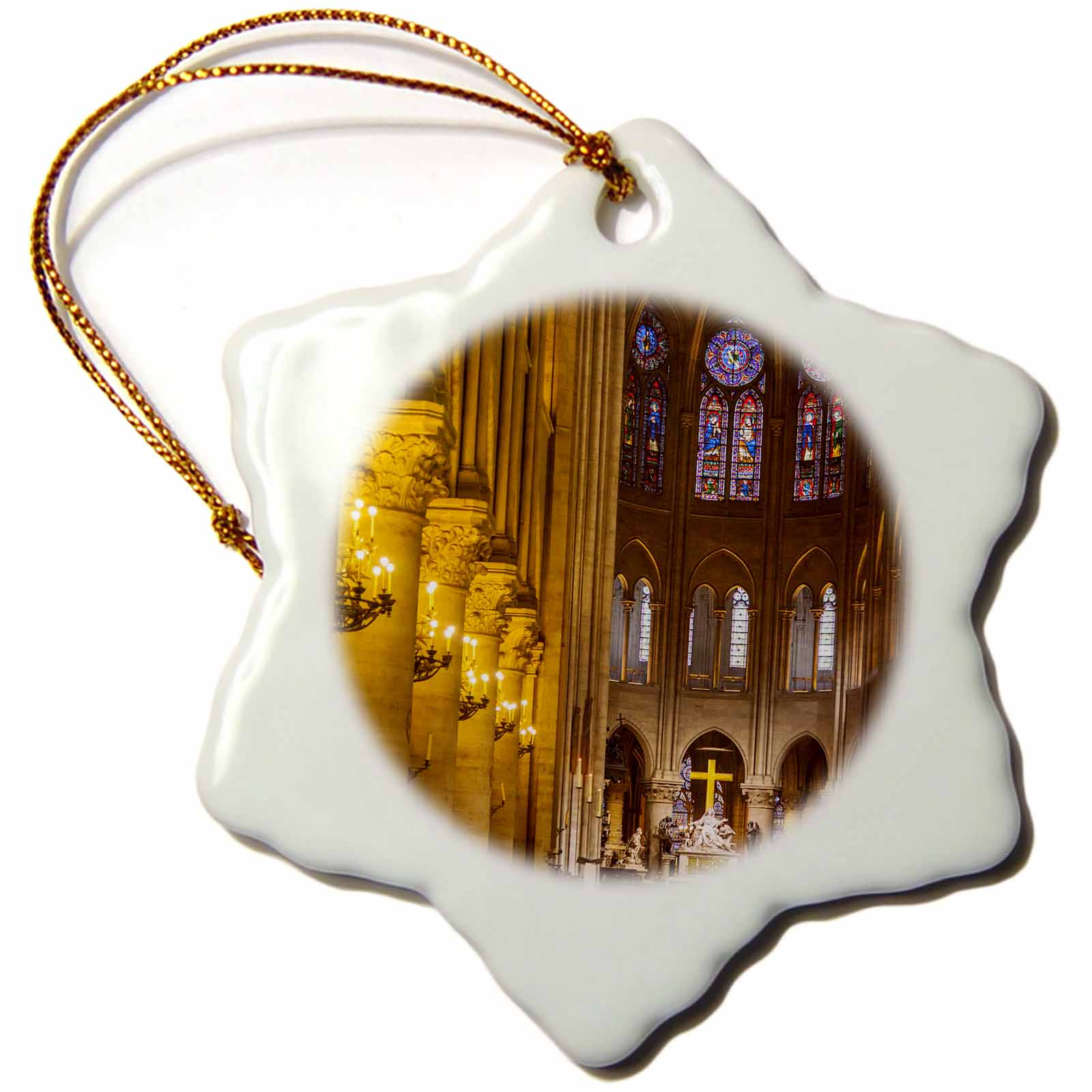 3dRose Interior of Notre Dame Cathedral, Paris, France - EU09 BJN0676 - Brian Jannsen - Snowflake Ornament, 3-inch