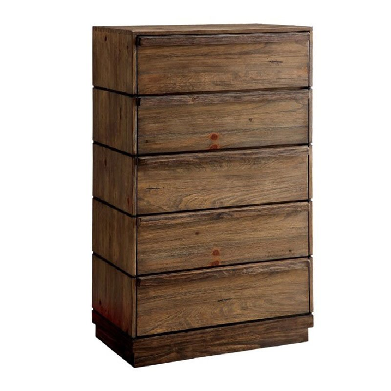 Maklaine 5 Drawer Chest in Rustic Natural