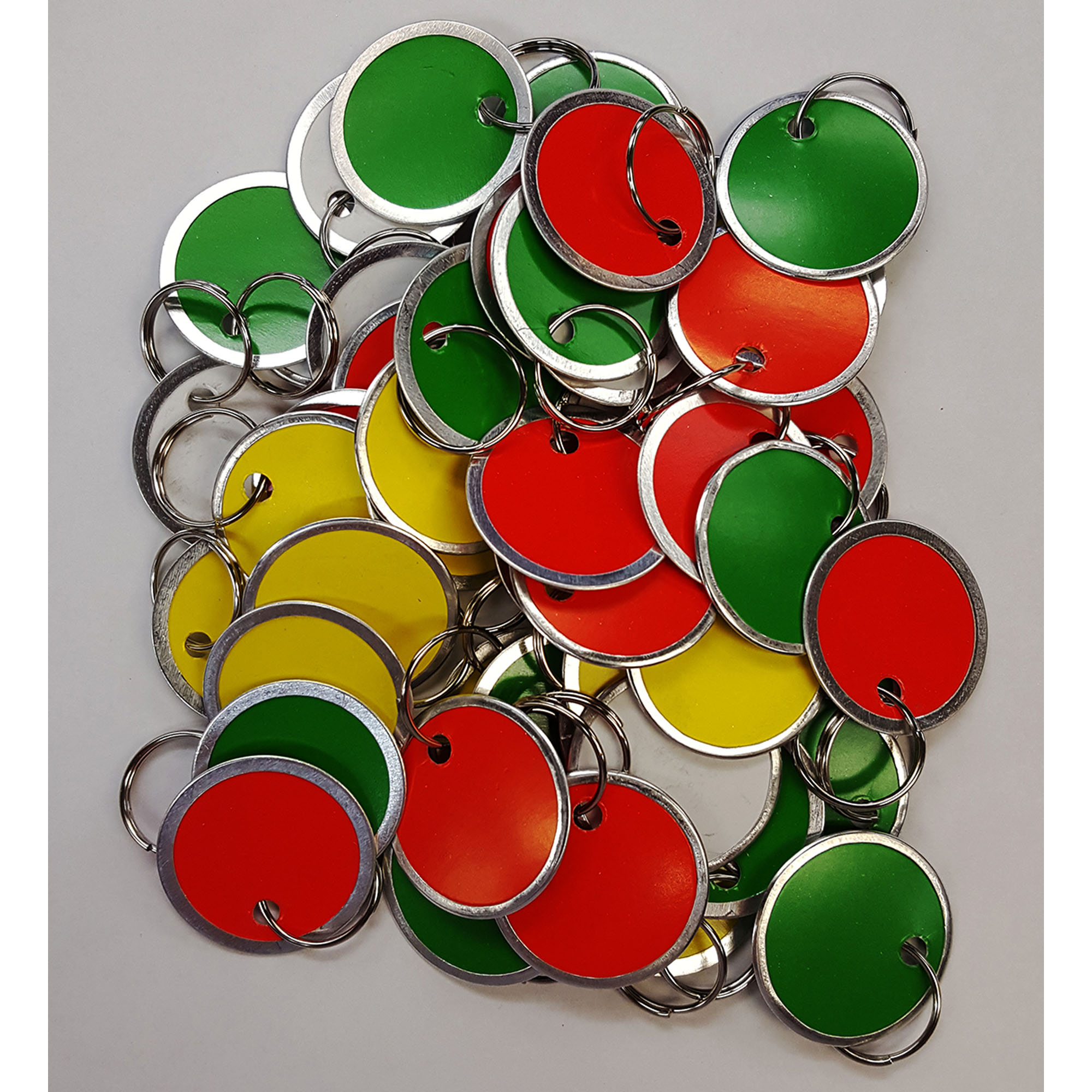 "Amram Key Tags 1 1 4"" Diameter, Split Ring. 50 Tags, Assorted Colors- Red, Yellow, Green & White. by Coda Resources"