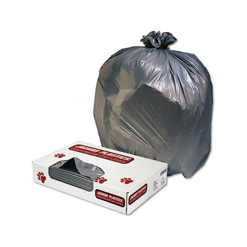JAGUAR PLASTICS Low-Density Can Liner 45-Gallon, 1.3 Mil in Gray