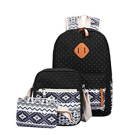 Cute Black Teen (Set of 5 Backpack, Teens School Backpack Set Canvas Girls School Bags, Cute Wave Bookbags (Wave,)