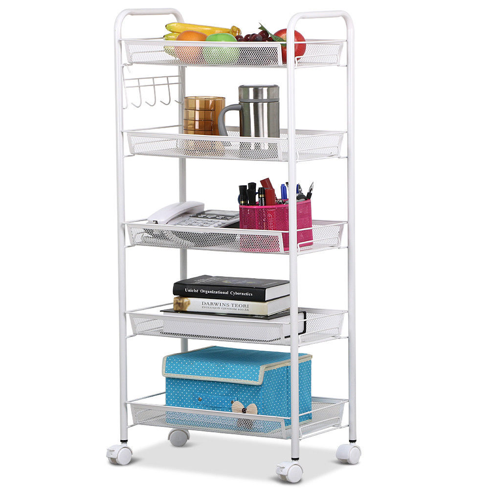 GZYF Shelving Unit Racks 5 Tier Kitchen Trolley Cart Utility Metal Mesh Shelf  Rolling On Wheels