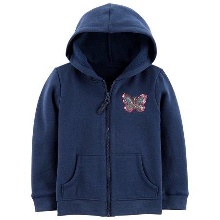 Carter's Little Girls' Zip-Up Hoodie, Butterfly, Navy ()