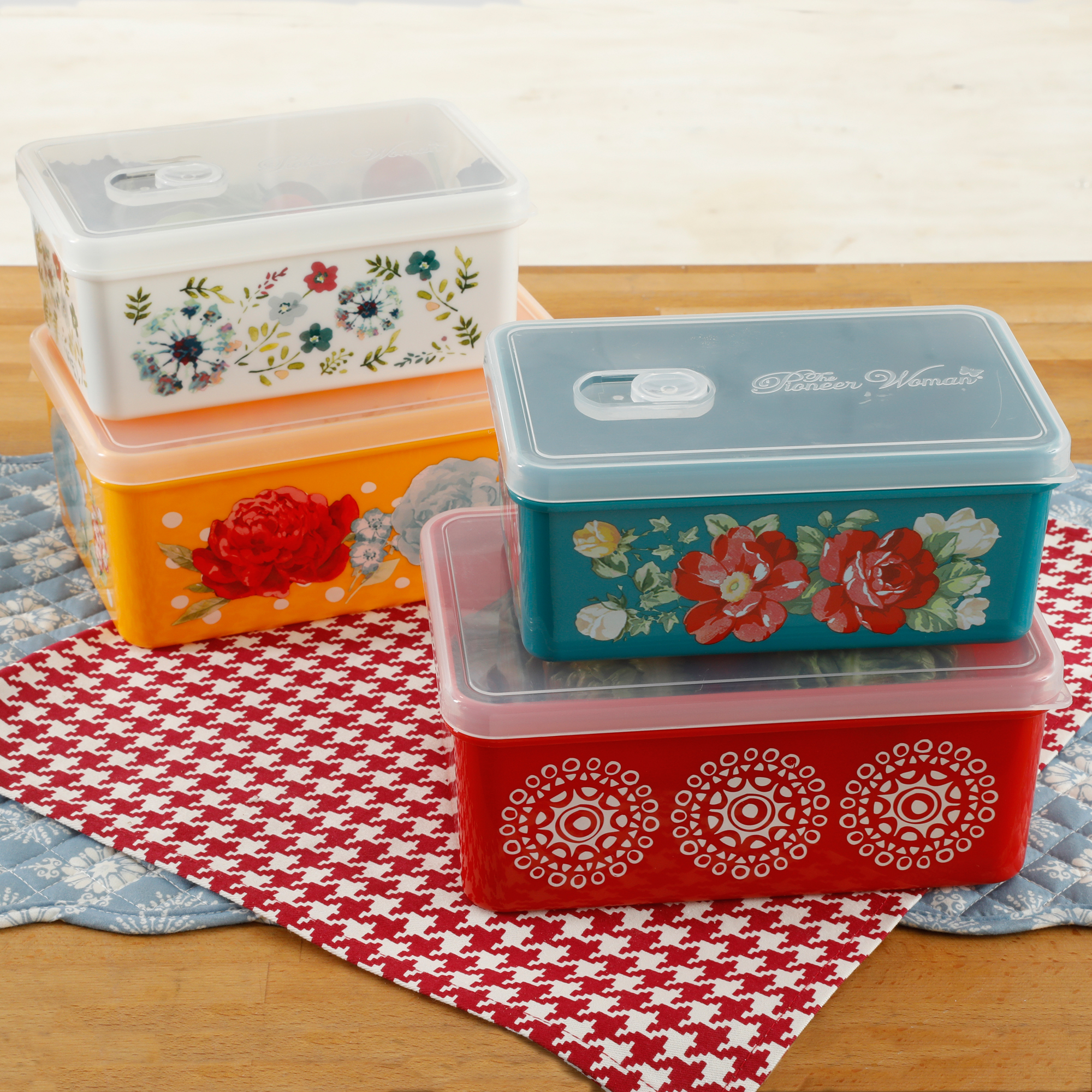The Pioneer Woman Flea Market Rectangular Food Containers, Set of 4