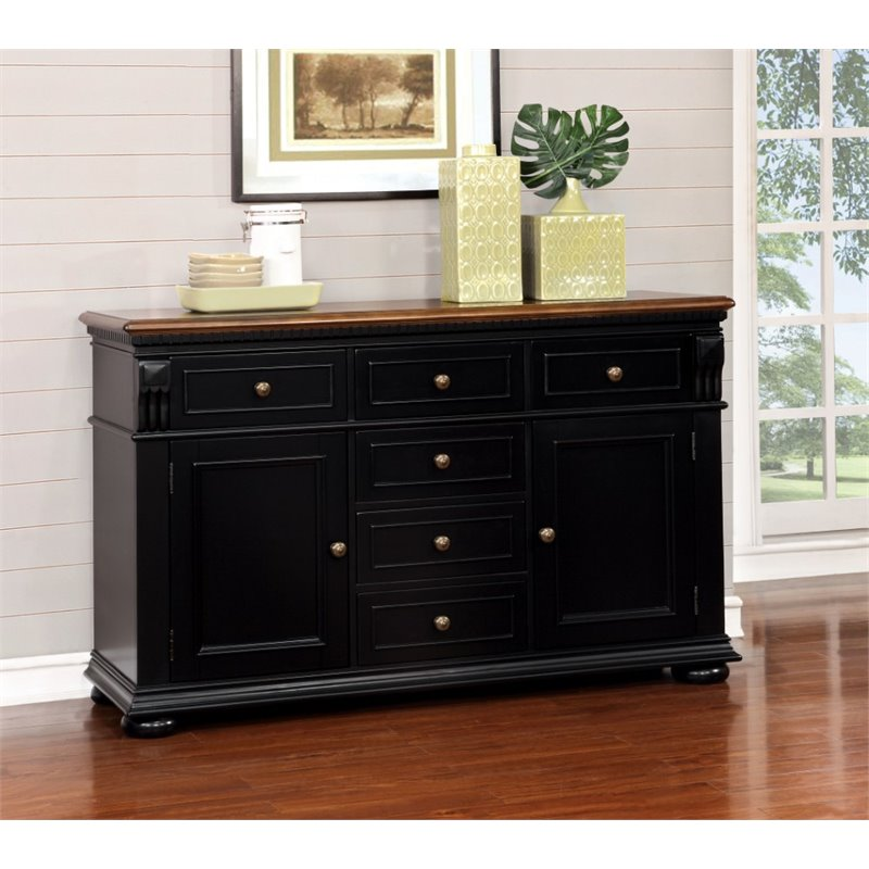 Furniture of America Hendrix Buffet in Cherry and Black by Furniture of America