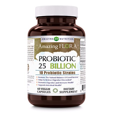 Amazing Flora Probiotic 10 Strains 25 Billion 60 Vcaps