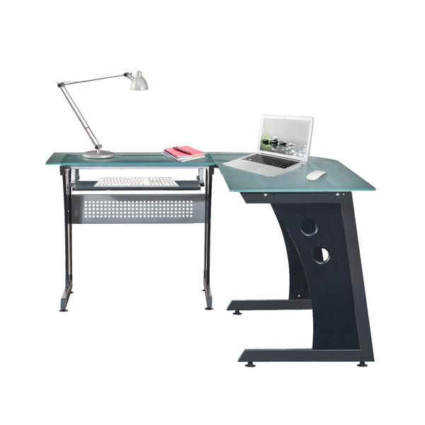 Techni Mobili Deluxe L-Shaped Tempered Frosted Glass Top Computer Desk with Pull Out Keyboard Panel, Graphite