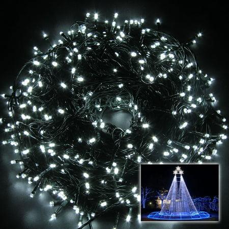 White String Christmas Lights.Excelvan 100m 500 Leds String Fairy Lights Cool White 8 Modes Lighting Party Wedding Christmas Garden Decor