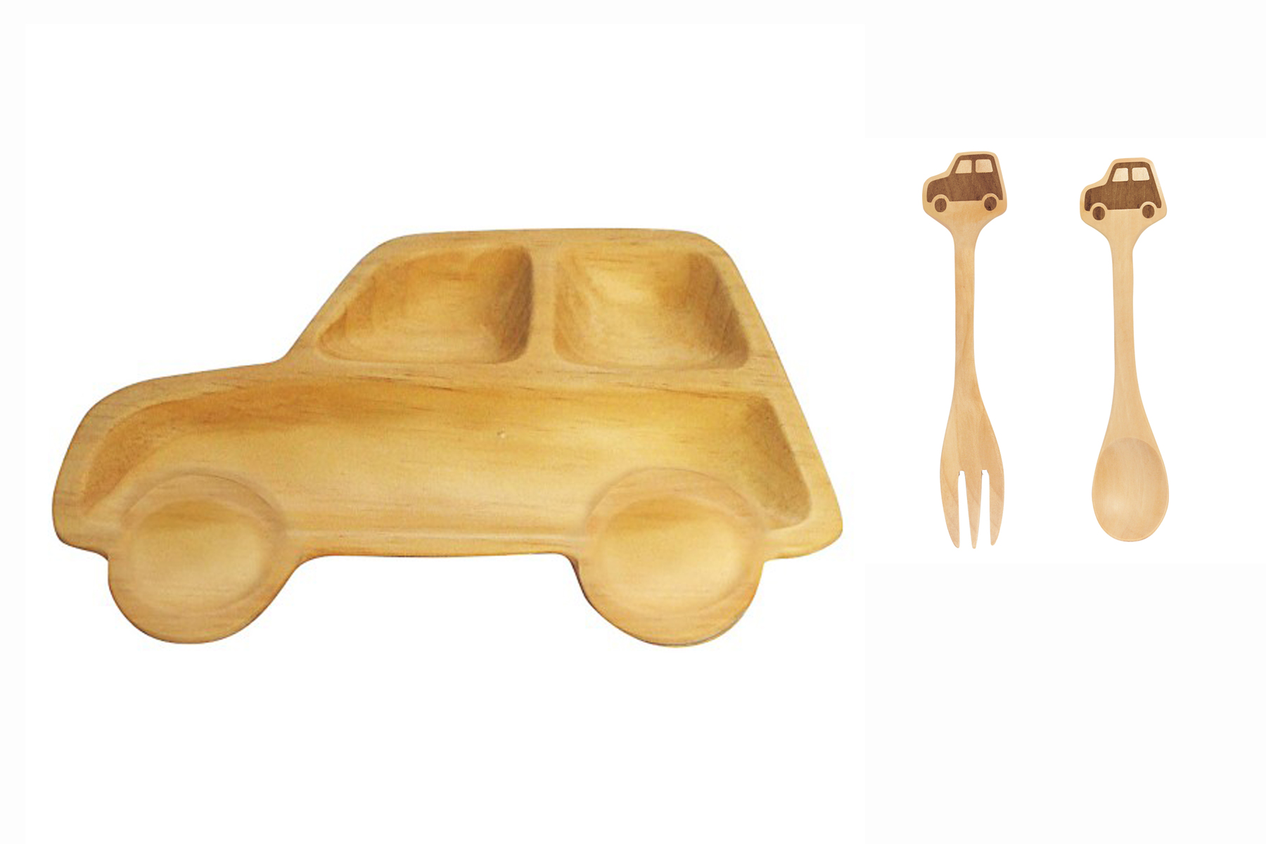 Petits Et Maman Kids' Wood Plate Fork and Spoon, Car by Ganz