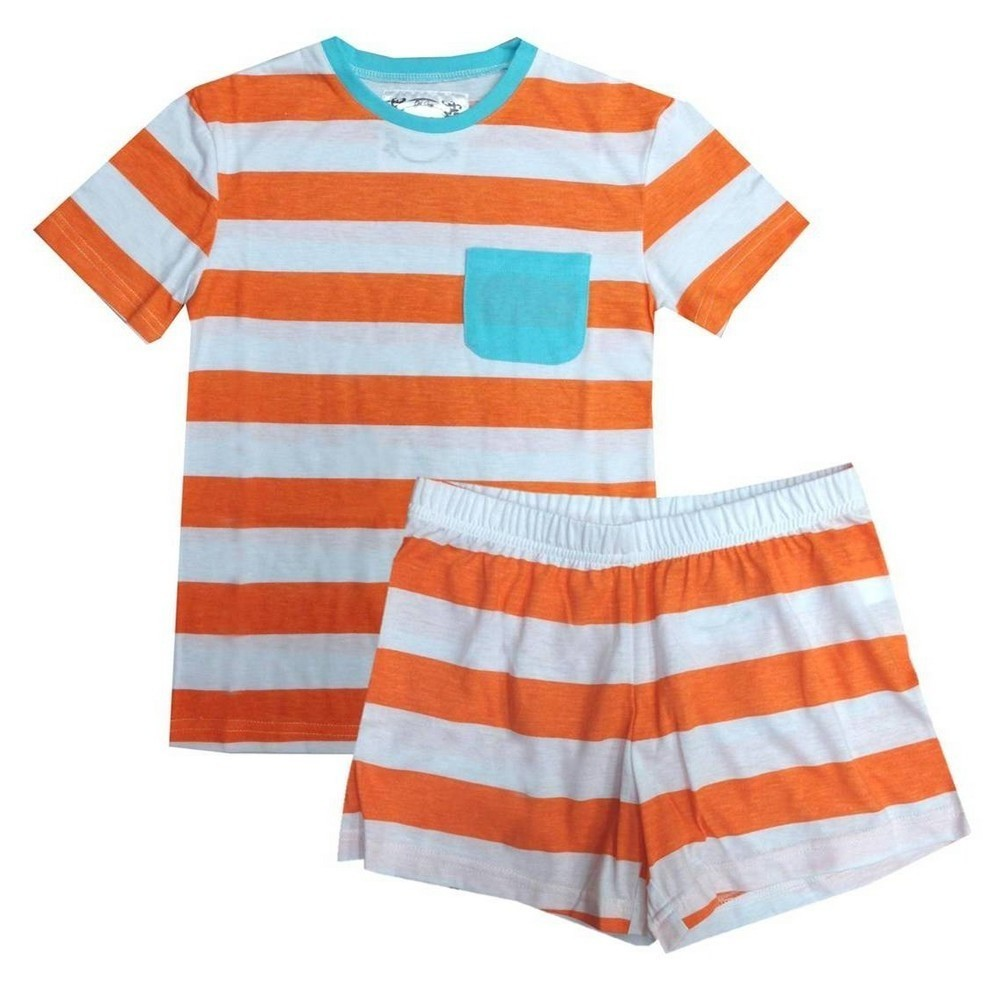 Orange White Rugby Striped T-shirt Shorts Girls Pajama Set 4-16