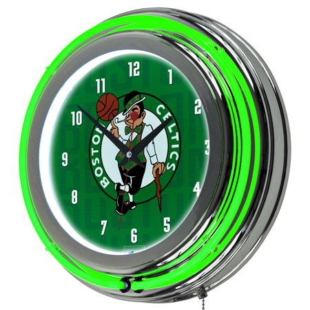 NBA Chrome Double Rung Neon Clock - City - Boston (Boston Celtics Clock)