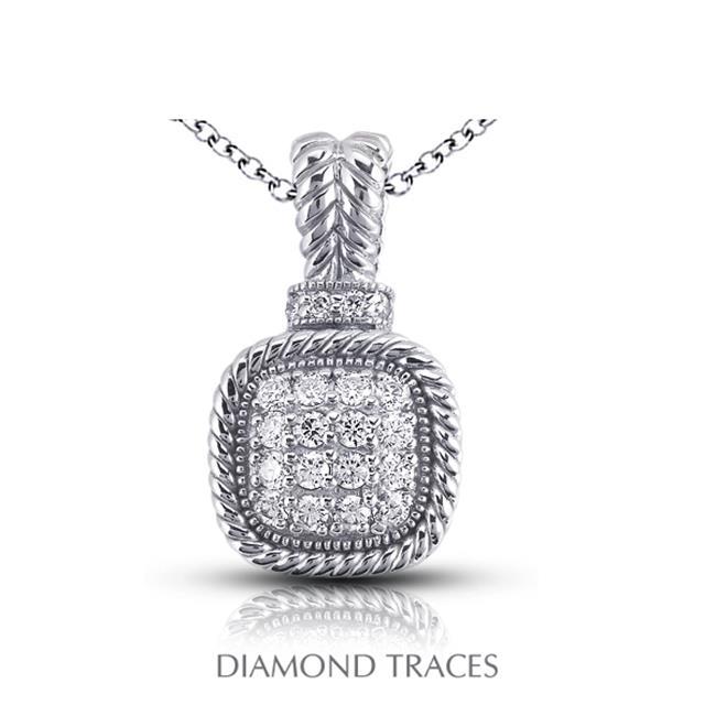 Diamond Traces 0. 50 Carat Total Natural Diamonds 14K White Gold Pave Setting Rope Edging With Milgrain Fashion Pendant