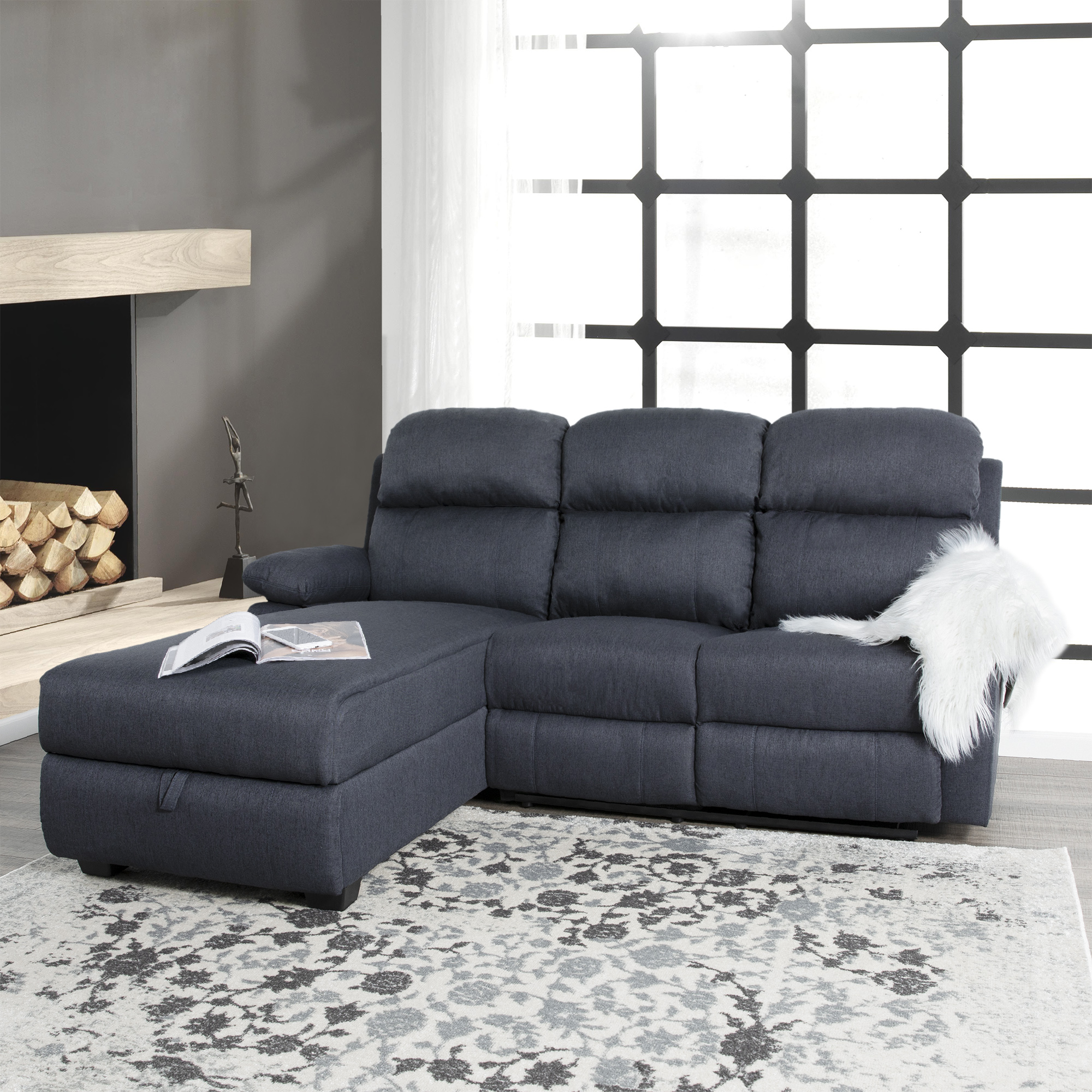 Ottomanson Recliner L-Shaped Corner Sectional Sofa With