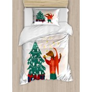Dachshund Duvet Cover Set Twin Size, Christmas Themed Cartoon Style Humanized Dog in Clothes and Xmas Tree with Gifts, 2 Piece Bedding Set with 1 Pillow Sham, Multicolor, by Ambesonne