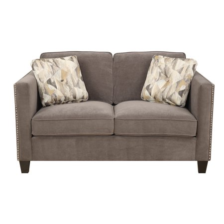 Emerald Home Focus Charcoal Gray Loveseat, with Pillows, Easy Clean Microfiber Upholstery, Nailhead Trim, And Straight Arms