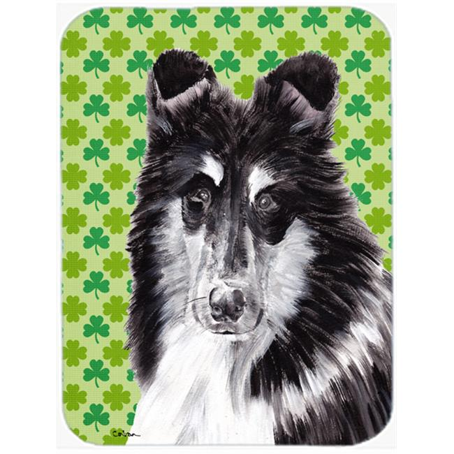 Collie Lucky Shamrock St. Patricks Day Mouse Pad, Hot Pad Or Trivet, 7.75 x 9.25 In.