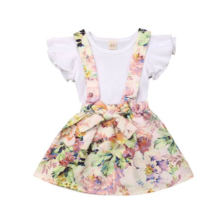 2019 New Newborn Baby Girl Clothing Set Summer Infant Suit Baby Girl Clothes White Knit Ruffles T-shirt+ Skirts Overalls
