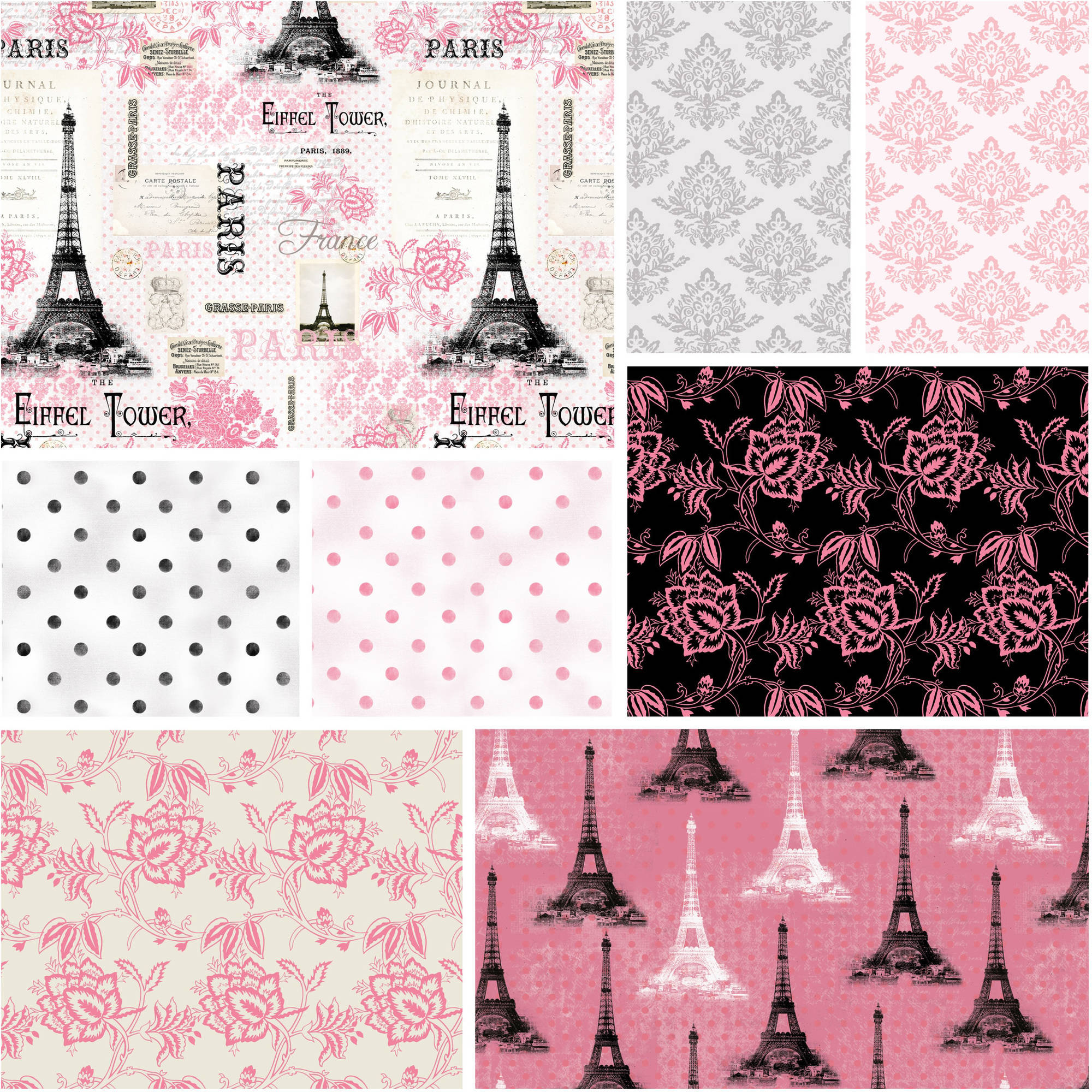 "David Textiles Paris Pink Collection 44"" Quilting Cotton Fabric By The Yard"