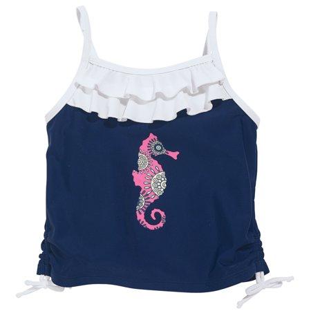 Sun Smarties Baby and Toddler Girl Tankini - Navy Blue Seahorse Design - Sleeveless Swim Top