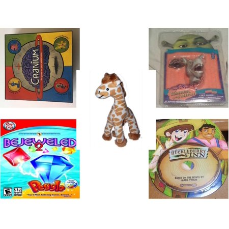 Children's Gift Bundle [5 Piece] -  2002 Cranium  - Shrek Donkey Foamheads 4 In 1 Topper Keychain  - Small of the Wild Giraffe   by Wildlife Artists 6