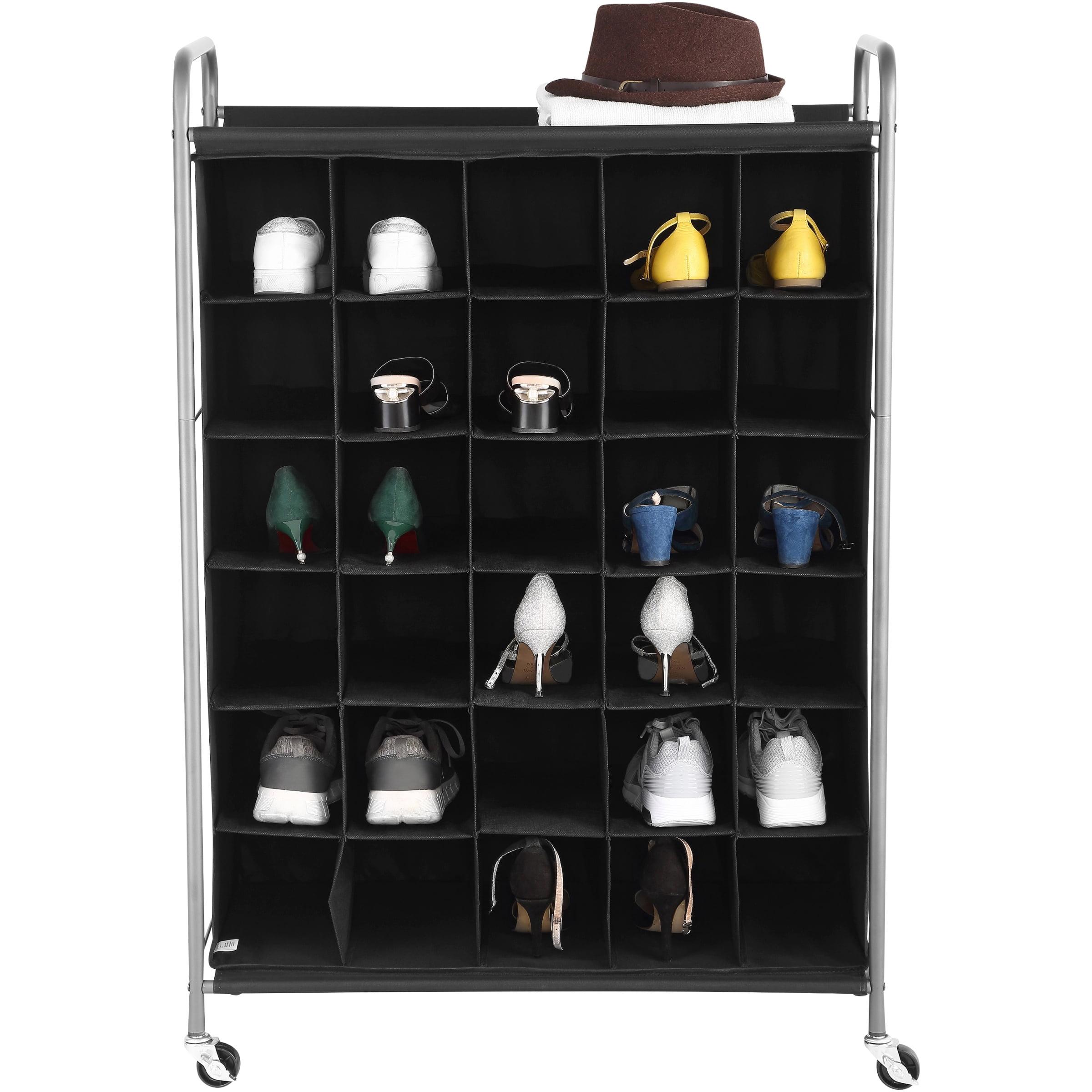 Mainstays 6 Tiers 30 Pairs Shoe Organizer Black Walmart Com Walmart Com