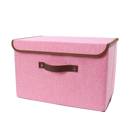 Fabric Storage Bin Cube Small Basket with Handle & Lid for Shelves Pink](Pink Storage Boxes)