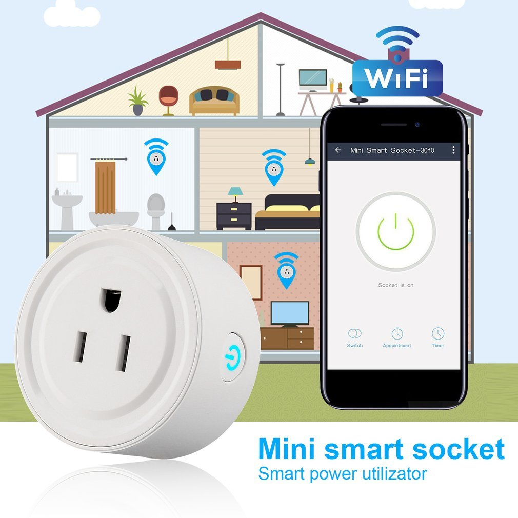 Portable And Mini Wi-Fi Smart Socket Remote Control Timer Switch Power Socket Durable Travel Outlet Plug And Play