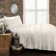 Pom Pom Stripe Quilt White 3Pc Set King