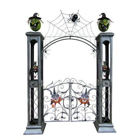 Zaer Ltd International Iron Halloween Cemetery Gate with Arch](Halloween Cemetery Arch)