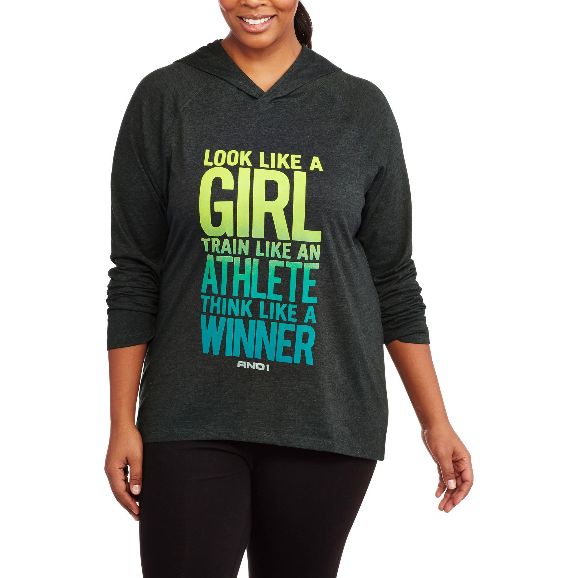 AND1 Women's Plus-Size Look Like A Girl Long Sleeve Hood