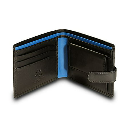 Visconti Parma PM-100 Mens Classic Bi-fold Coin Pouch Wallet (Black/Cobalt)