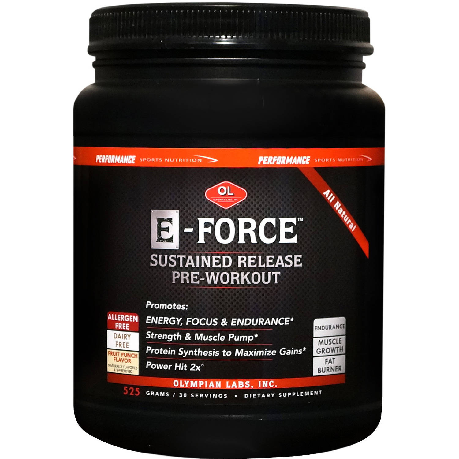 Olympian Labs E-FORCE Sustained Release Pre-Workout Fruit Punch Flavor Dietary Supplement, 525g