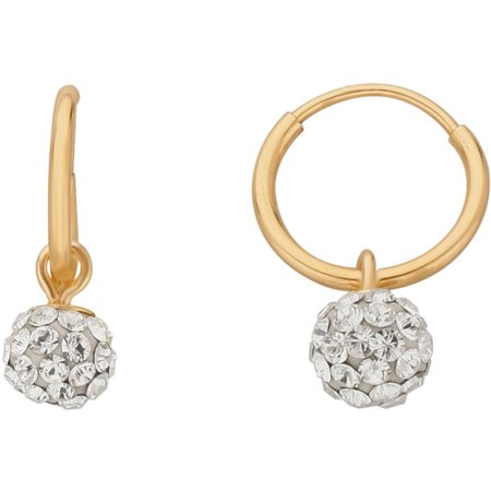 Brilliance Fine Jewelry 10K Yellow Gold 10mm Endless Hoop with 4.8mm Crystal Ball Earrings
