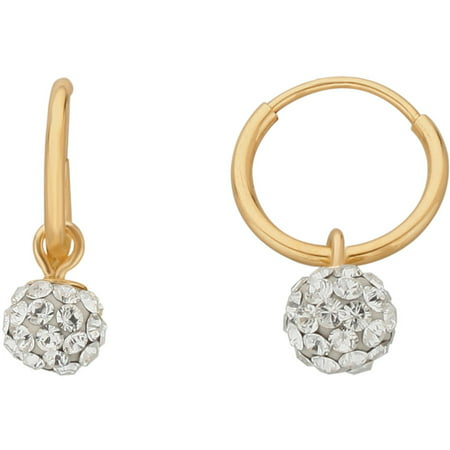 Kids' 10kt Yellow Gold 4.8mm Crystal Ball 10mm Endless Hoop Earrings](Kid Earrings)