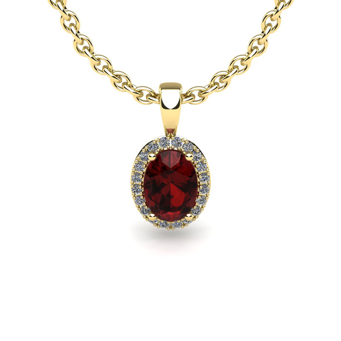 1 Carat Oval Shape Garnet and Halo Diamond Necklace In 10 Karat Yellow Gold With 18 Inch Chain by SuperJeweler