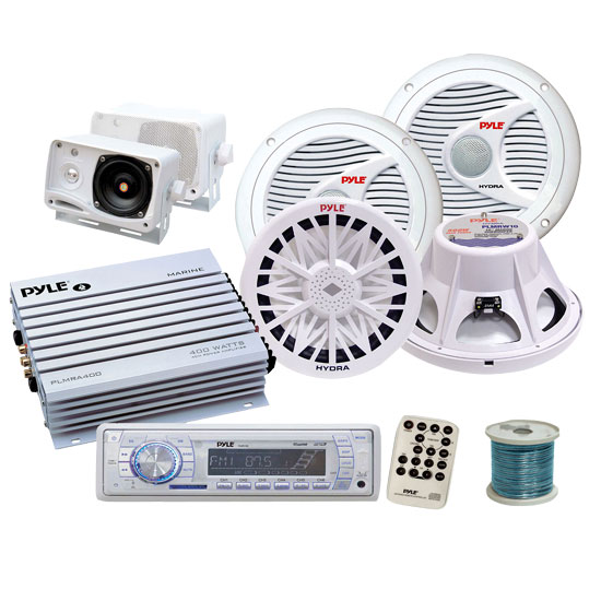 Pyle Complete Professional Weatherproof Sound Audio System for the Boat, Marine, Deck - AM/FM Radio + 400 Watts Amplifier + 200 Watts Mini Box Speaker System + Pair of 150 Watts Speakers + Two 400 Wat