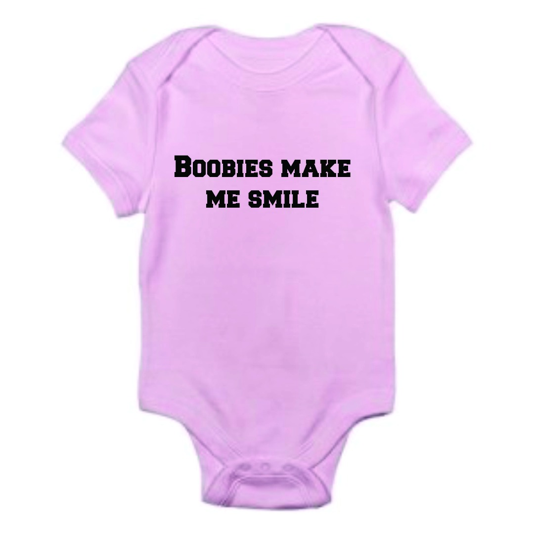 Design With Vinyl Boobies Make Me Smile Funny Baby Clothes - Personalized Baby Shower Gift